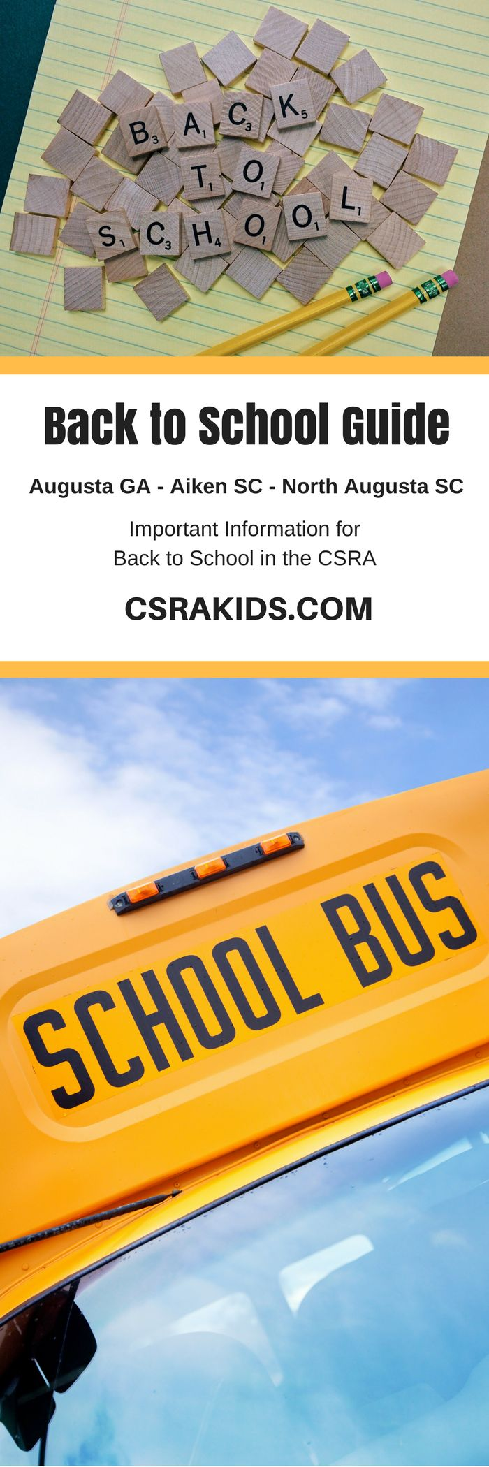 Back to School Guide: CSRA Kids  Registration Dates School Lunch Menus Back to School Events Homeschooling Information