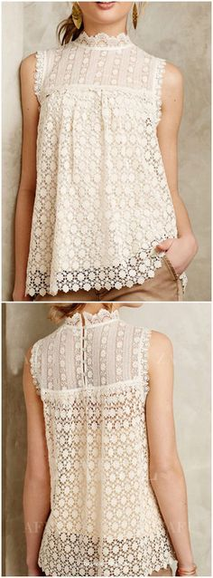 sleeveless lace blouse. I love the high neckline.