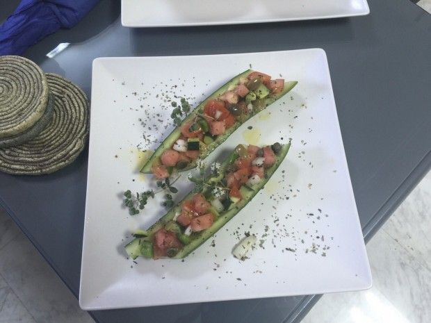 For people who follow raw food plans we prepare the raw food version of Greek salad with tomatoes, onions, cucumber, Greek olives and capers served in a cucumber boat topped with olive oil and oregano #rawfood #rawdiet #rawfooddiet