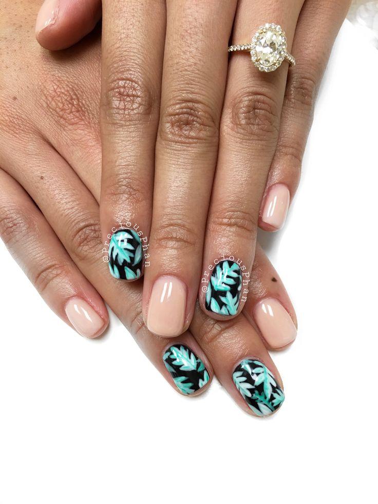 Tropical nails. Summer nails. Vacation nails. Leaf nails ...