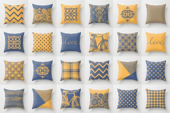 Saffron Yellow Dusty Blue Throw Pillow Mix And Match Indoor Outdoor Cushion Cover Accent Couch Toss Bright Vivid Melange Houndstooth Corn In 2021 Blue Throw Pillows Throw Pillows Pillow Mixing