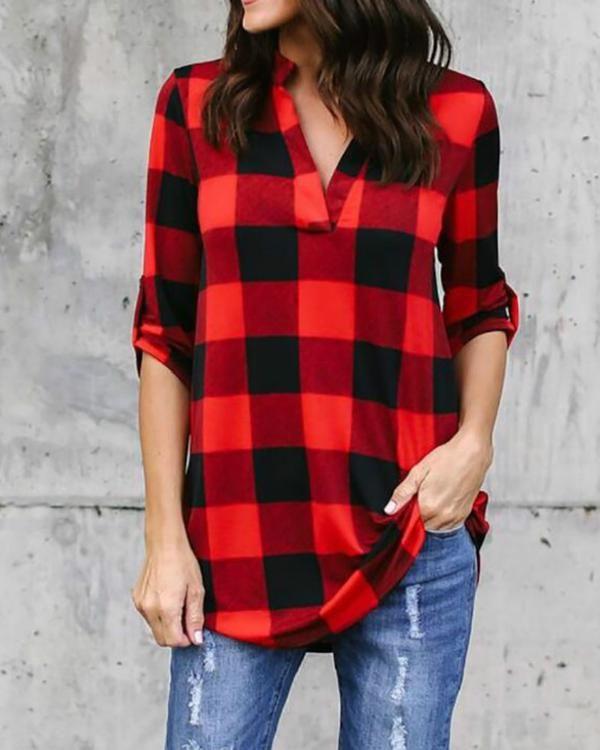 71bb7e3bd16 Women Causal Lattice Simple Tops Sexy Deep V-neck Fashion Autumn Summer Plus  Size Long Sleeves T-shirt