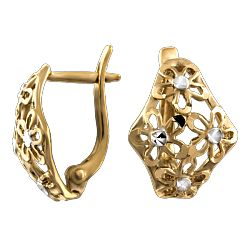 Купить золотые серьги ➤ http://zolotoy-standart.com.ua/catalog/sergi-bez-vstavok/zolotye-sergi-210093/