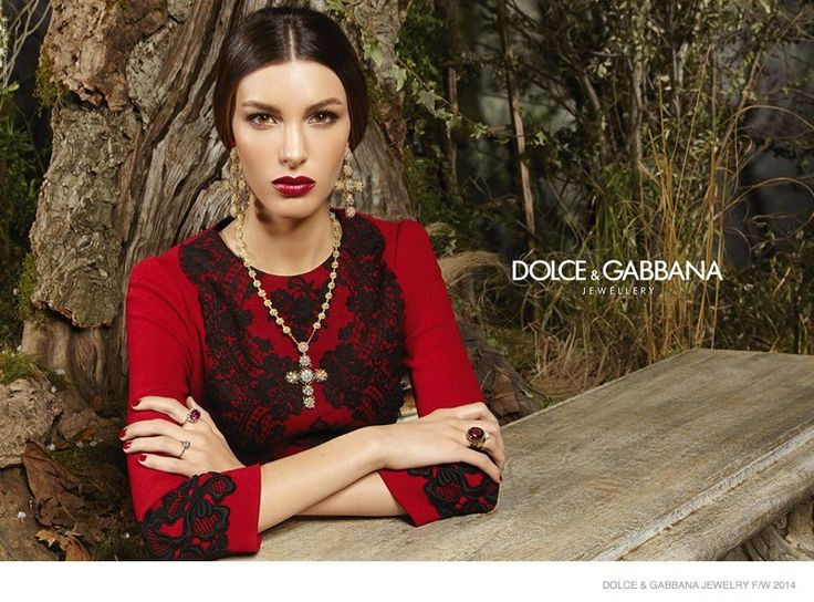 Dolce & Gabbana Fall 2014 Jewelry--Back for another season as the face of Dolce & Gabbana's Jewelry line, Kate King stuns in the fall-winter 2014 s