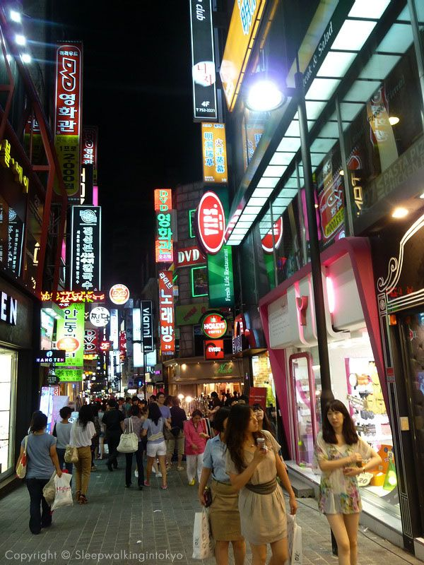 Myeongdong (명동), a popular shopping district in Seoul.