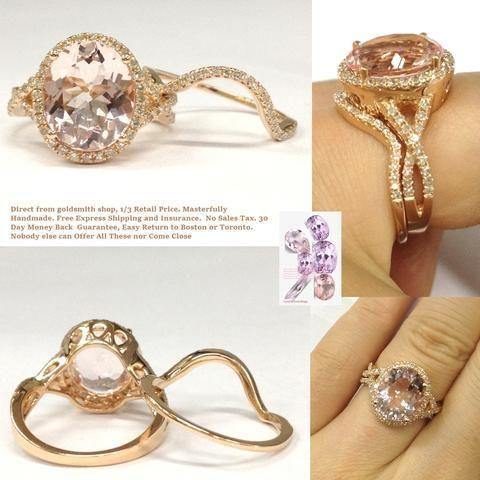 Oval Morganite Engagement Ring Bridal Set Infinite Love Shank14K Rose Gold 10x12mm