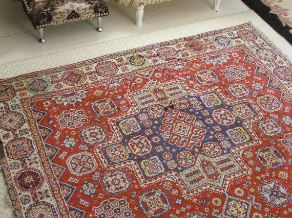 Vintage plush carpet Silk thin rug от Vintagelli на Etsy