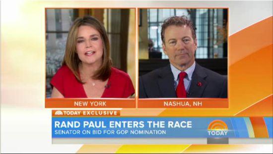 Rand Paul's war on women journalists.  Screenshot of Today Show interview of Rand Paul by Savannah Guthrie