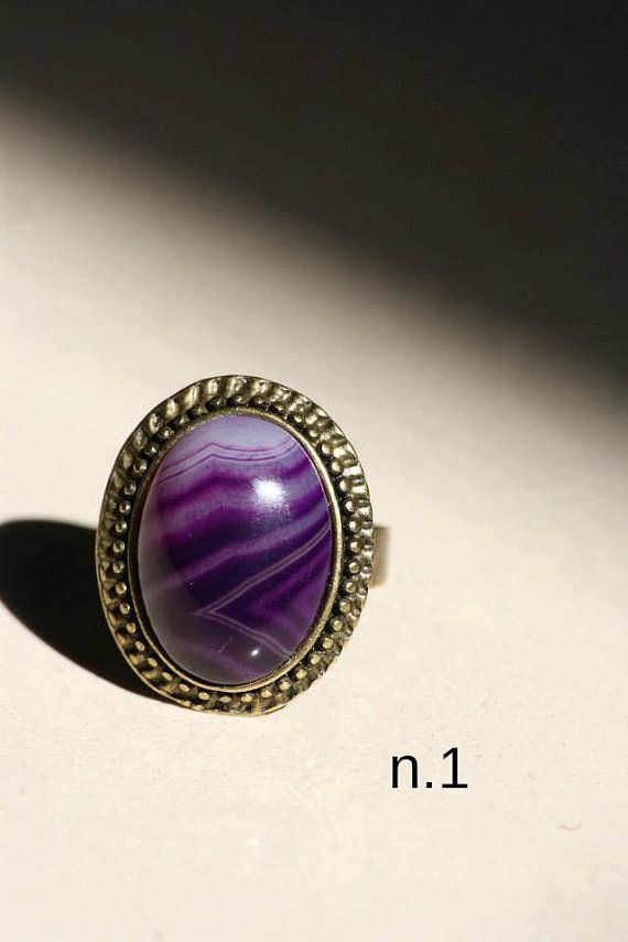 Anello vintage retrò regolabile con pietra di DIYGIOIELLIePIETRE, €8.00  Vintage ring made by hand with cabochon gemstone Agate