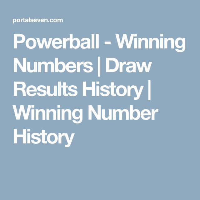 Powerball - Winning Numbers | Draw Results History | Winning Number History