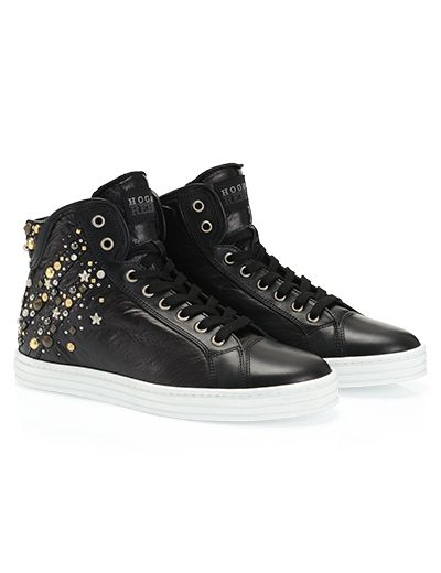 #HOGANREBEL R183 High-top #sneaker with #leather details and adorned with #studs and #rhinestones with invisible internal #wedge. Discover #urban #glamor here hoganrebel.com/women