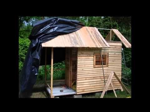 Domek eko z desek po paletach euro - YouTube