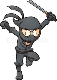Cartoon ninja running. Vector clip art illustration with simple gradients. All in a single layer. | vector_preview_title | Colourbox on Colourbox