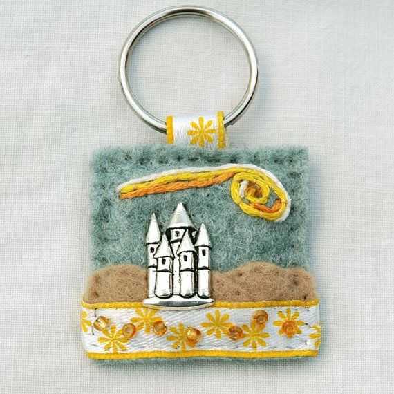 Hand sewn castle keyring - felt and charm hand sewn gifts - £7.00