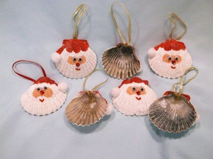 Make Santa Christmas tree ornaments with seashells! | Craft projects for every fan!