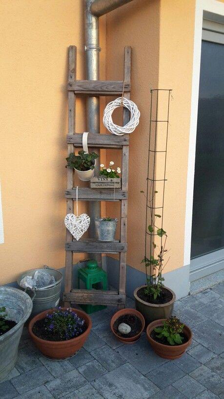 Die besten 25 Leiter deko Ideen auf Pinterest  Rustikale terrassentren Badezimmer Leiter und