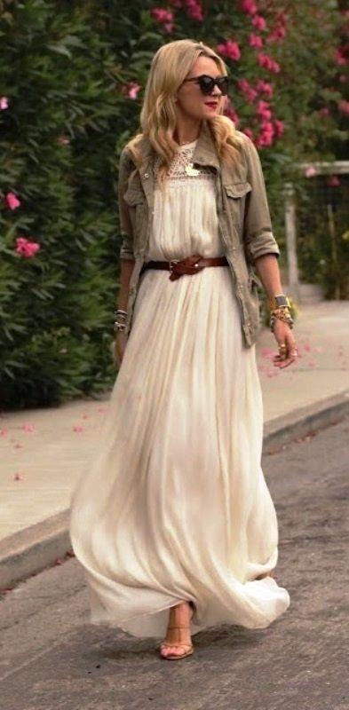 White maxi dress with Jacket