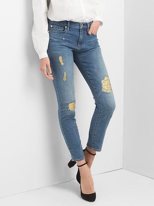 Gap Womens Mid Rise Destructed True Skinny Jeans Medium Destroy