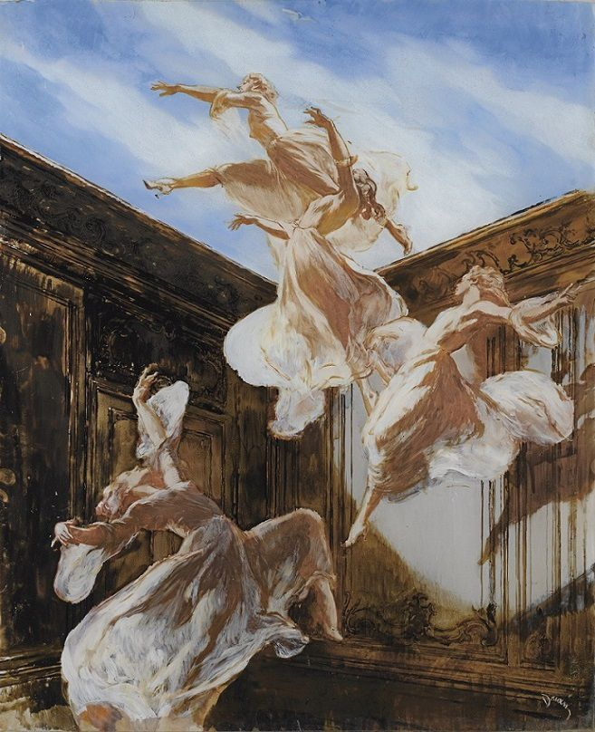 Etienne-Adrien Drian (French, 1885-1961) – Young Ladies Dancing (Oil and gouache, fixed under glass) – Drian was known for his depictions of women, especially elegant Parisiennes. He often painted and designed extravagant costumes for his close friend, the great comic actress Cécile Sorel. He designed both the sets and costumes for her show at the Casino de Paris in 1933. - Németh György