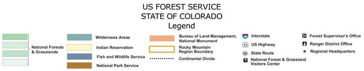 Image of Colorado Map Legend national forest map, shows where the free camping around the state is. Note these aren't campsites but primitive camping, no outhouse or water.
