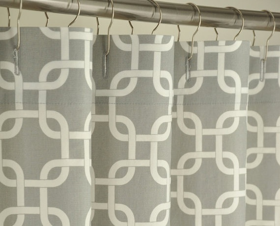 Grey & White Contemporary Shower Curtain  84 LONG by PondLilly, $139.99 (LOVE THIS PATTERN!!!)