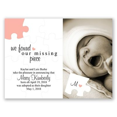 We found our missing piece; adoption announcement from Invitations by Dawn