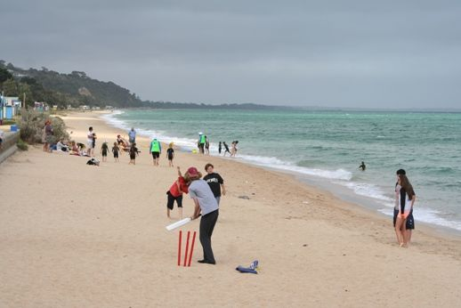 Beach cricket on the Bay. Healthy beaches... a way of life too good to lose