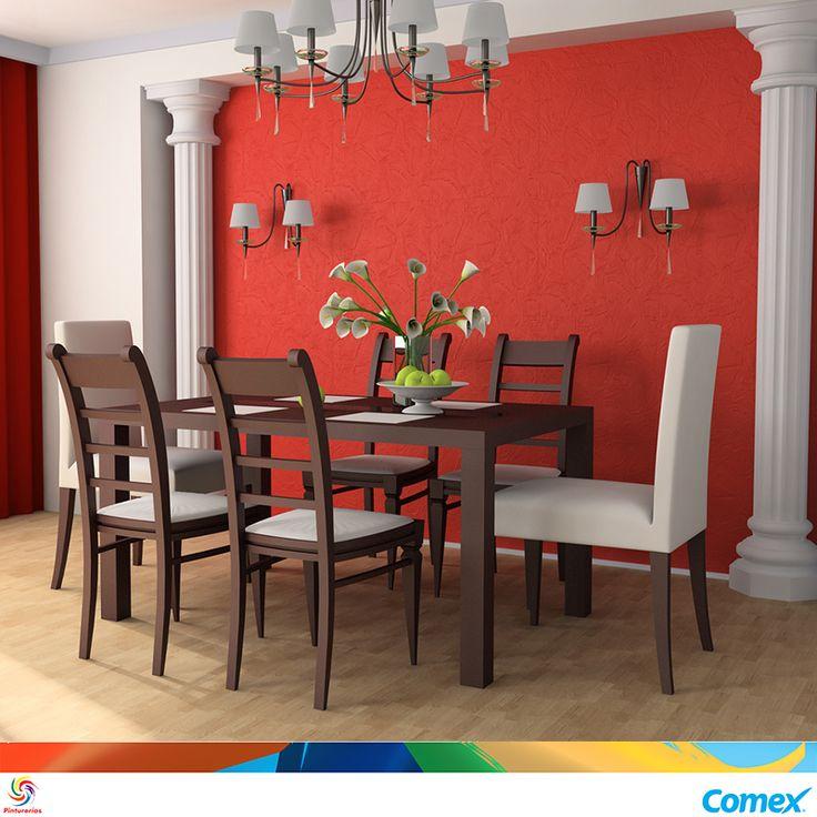 Atrévete a darle un toque de color a tu comedor, el rojo evoca lujo, un ambiente…