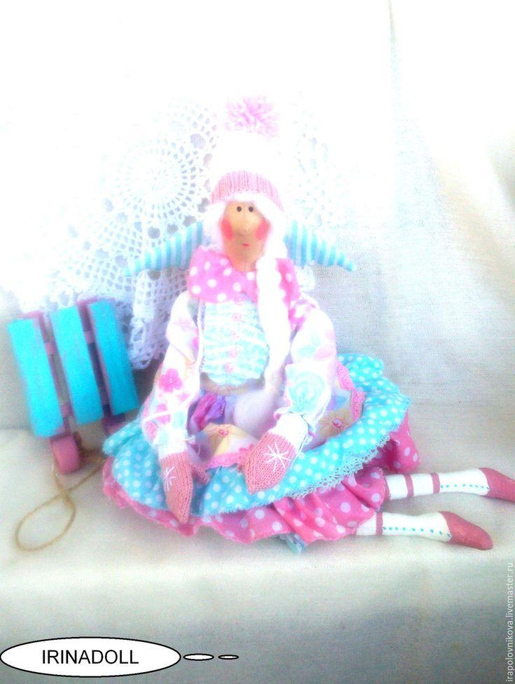Купить Кукла в стиле тильда. Снежана. - розовый, светло-розовый, бирюзовый, голубой, в полоску, в горошек