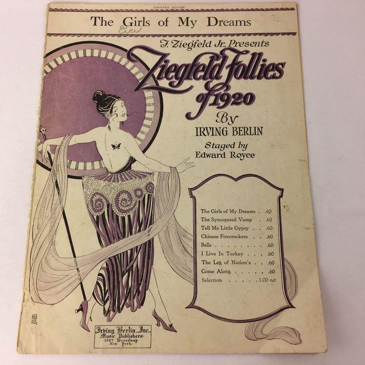 1920 the Girls of My Dreams Sheet Music Ziegfeld Follies Irving Berlin Art Deco