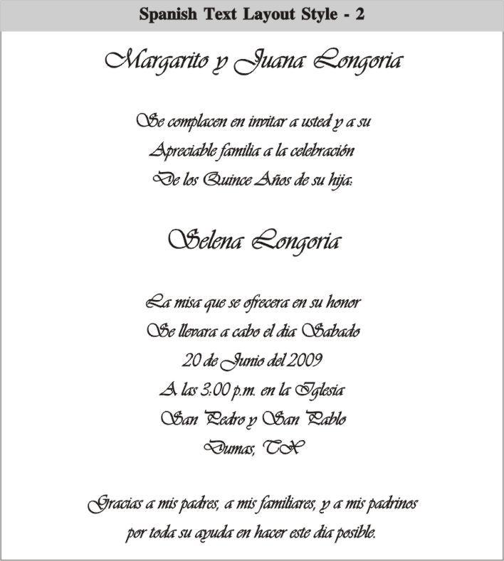 Wedding Invitations Spanish Wording