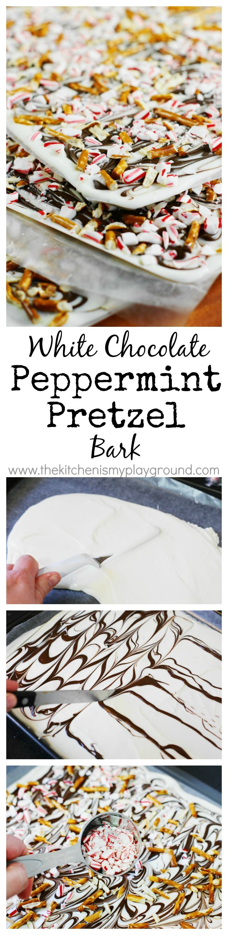 White Chocolate Peppermint-Pretzel Bark ~ a quick, easy, & super delicious peppermint treat for Christmas!   www.thekitchenismyplayground.com