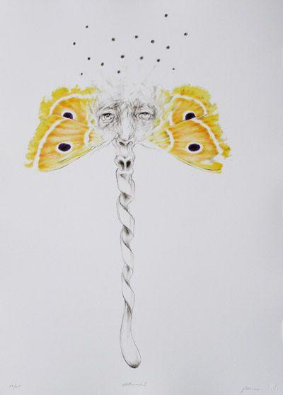 Judith Mason, Mothmask I, 2011.  SEVEN-COLOUR LITHOGRAPH, EDITION: 25, 70 X 52