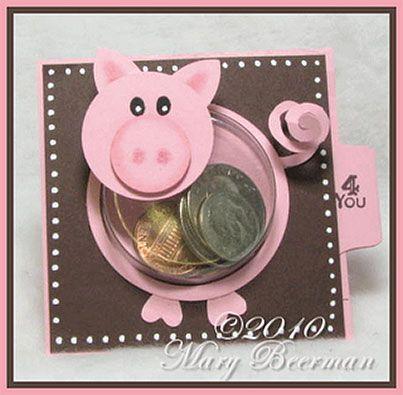 Скрапбукинг открытка на новый год хрюшка, спасибо поцелуй