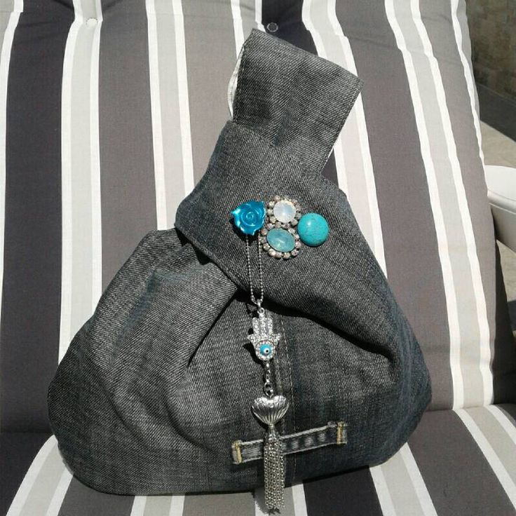 Japanese knot bag with recycled denim: a new life for unused jeans! di CrisEnCloo su Etsy