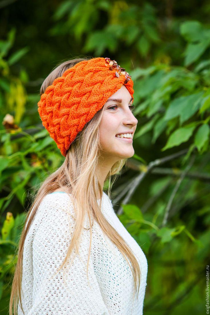 Купить Вязаная косами повязка тюрбан оранжевая осень шерстяная - рыжий, оранжевый, яркий, повязка