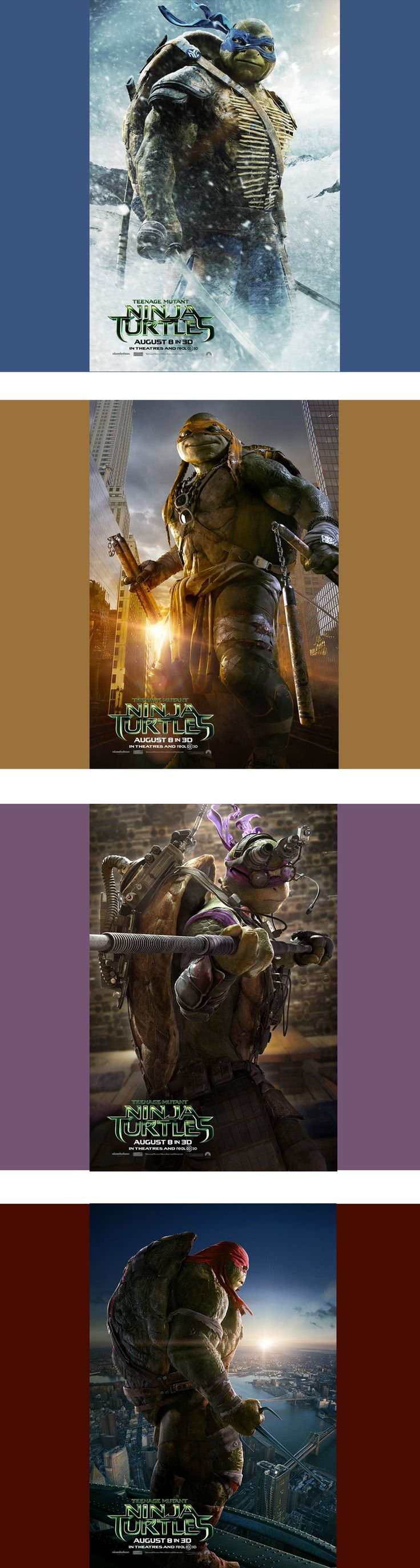 New #TMNT Movie posters. -- DONATELLO SHOULD NOT HAVE GLASSES!!!!!!! But I'm not obsessing over that.