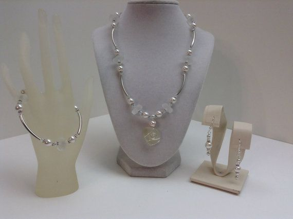White Sea Glass and Glass Pearl Necklace Bracelet and by kathyv552, $50.00