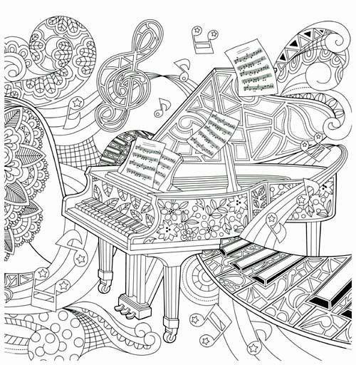 Piano Coloring Pages Best Of 1491 Best Coloring Pages Images On Pinterest Of Piano Coloring Pages L Coloriage Musique Coloriage Coloriage Instrument De Musique
