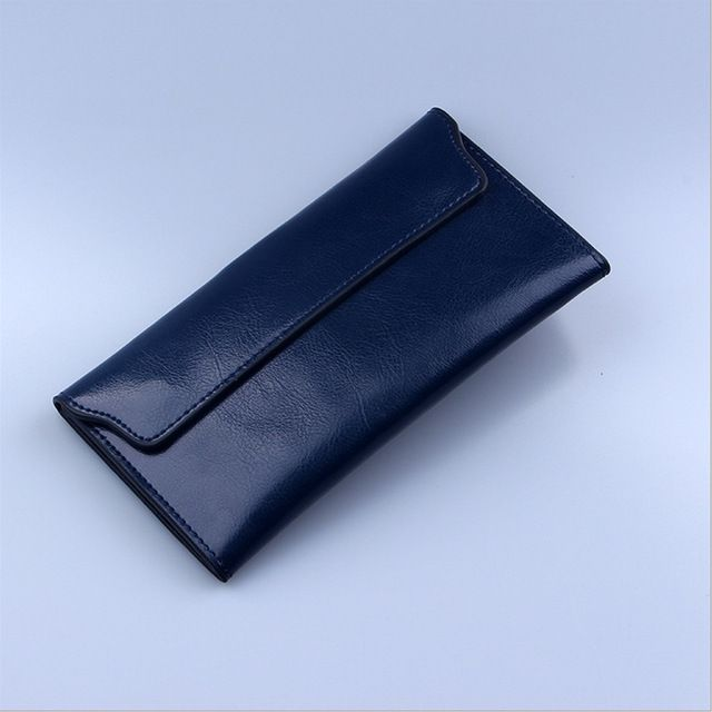 Long thin Purse Cowhide multiple Cards Holder Clutch bag - Royal blue Do you want it Get it here