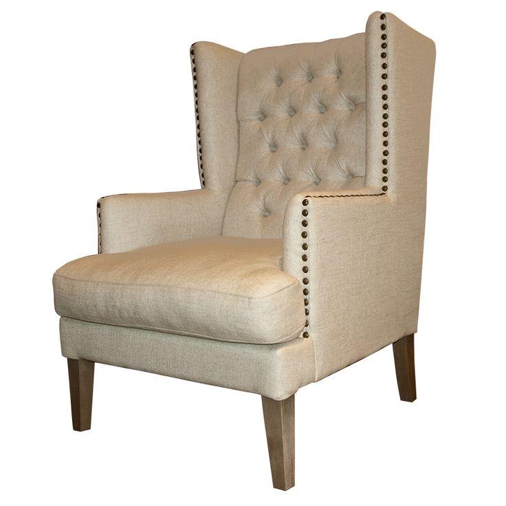 Bobby club chair offwhite linen napoleon legs home