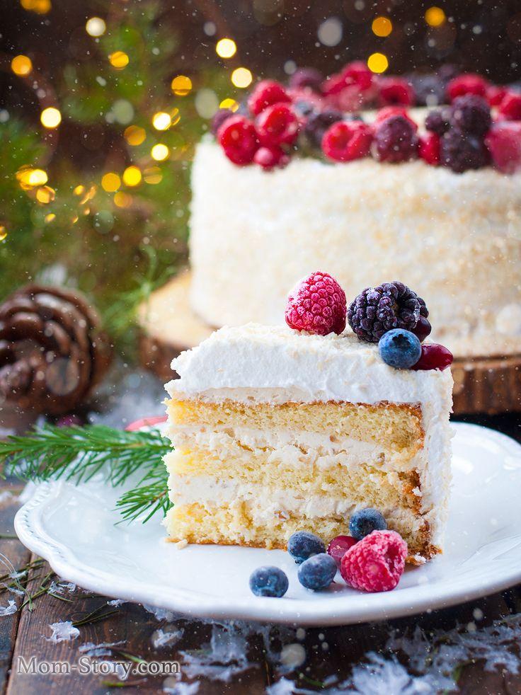 простой бисквитный торт с масляным кремом