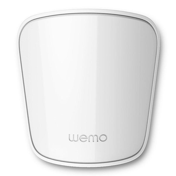 Belkin presented a series of updates on its WeMo line of gadgets for home automation and security, including this motion sensor, which detects movement and sends real-time information to a user's mobile device via the WeMo app.