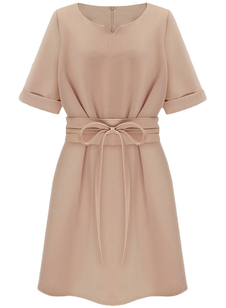 The dress is featuring round neckline with v notch, short sleeve, back zipper closure, bow waist, solid color and a-line silhouette.