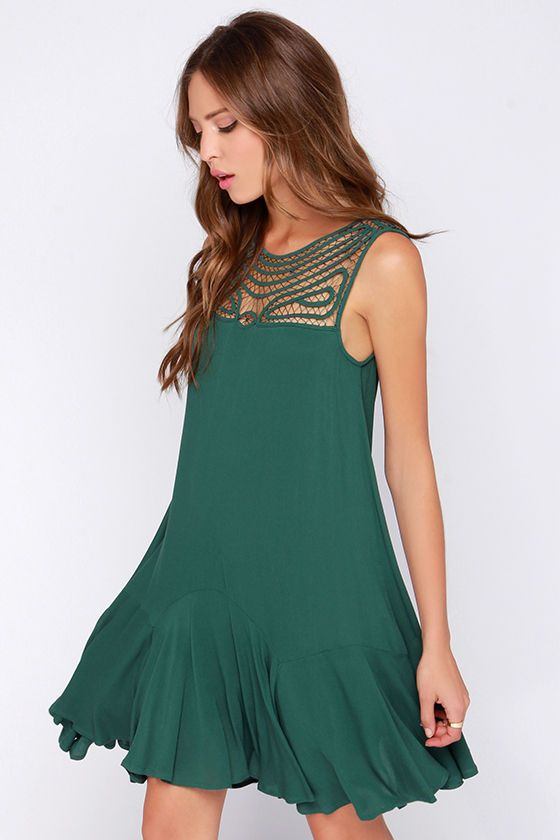 Black Swan Ornament Dark Green Shift Dress at Lulus.com!