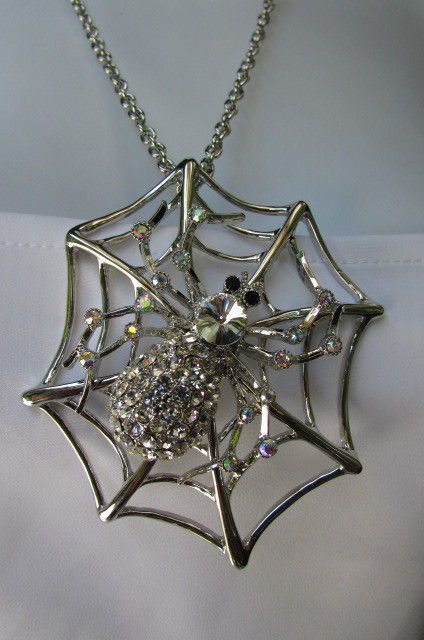 Silver / Gold / Pewter Spider Net Long Chains Necklace New Women Fashion Halloween Style