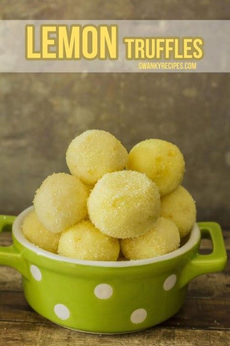 Lemon Truffles with White Sanding Sugar - Creamy, rich white chocolate lemon with little candied lemon zest.  These truffles are out-of-this-world good!