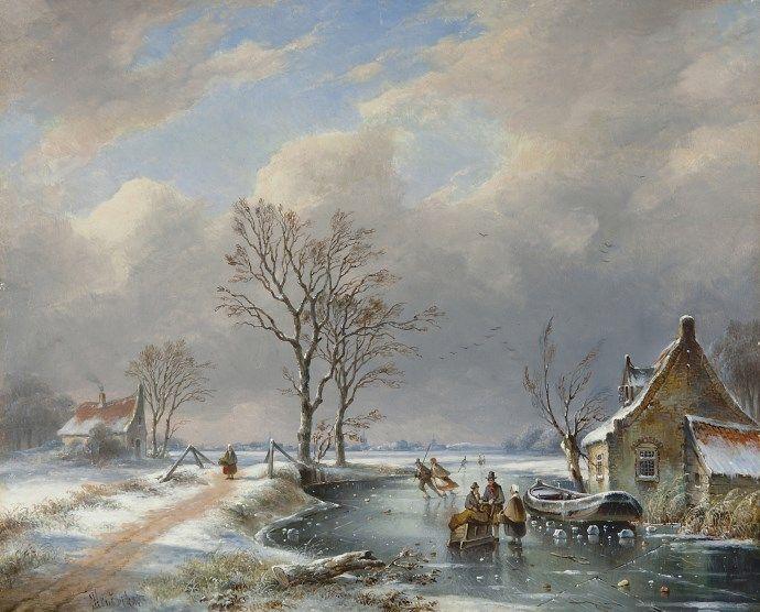 Gerardus 'George Henry' Hendriks - Winterlandschap met schaatsers en slede