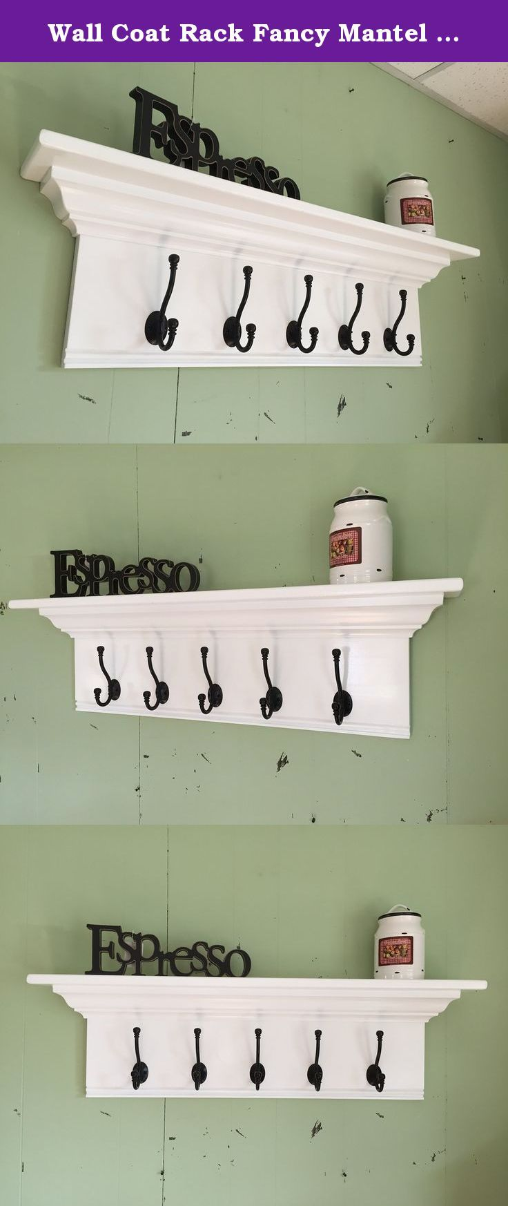 """Wall Coat Rack Fancy Mantel Coat Rail 36"""" with Crown Molding. A beautiful wall hanging coat rack. It would look great in any room of your home. This one measures an overall 36"""" wide x 10"""" tall x 5"""" deep. It is finished in white and comes with 5 Black English hooks. It comes with 2 heavy duty keyhole mounting brackets on the back for easy hanging. If this size of color does not work let us know. We welcome custom orders. If you would like to customize your item (size, material, hooks, and..."""