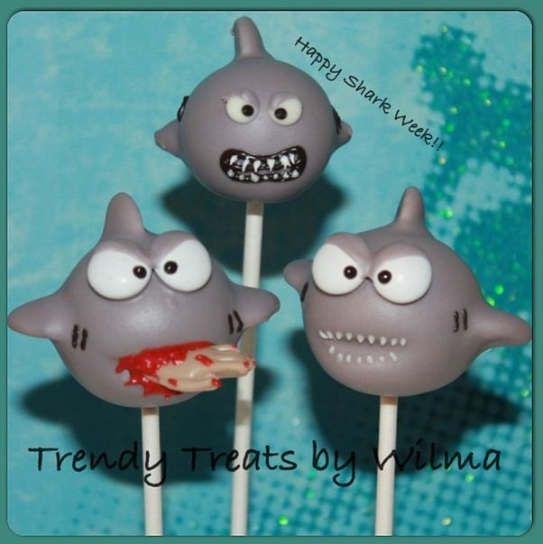 Watch our during Shark Week! These Shark Cake Pops from Trendy Treats by Wilma are amazing!